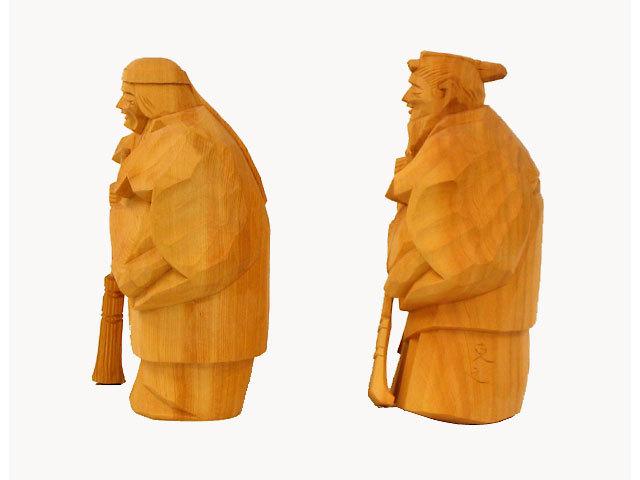 高砂人形 一位一刀彫 七寸 克之作