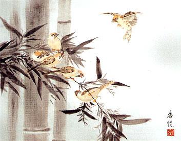 竹に雀 洛彩緞子額表装 西尾香悦