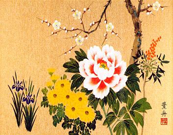 四季花 洛彩緞子額表装 根本葉舟
