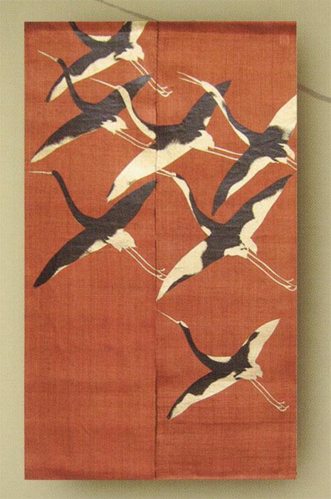 漆染め 麻のれん 鶴