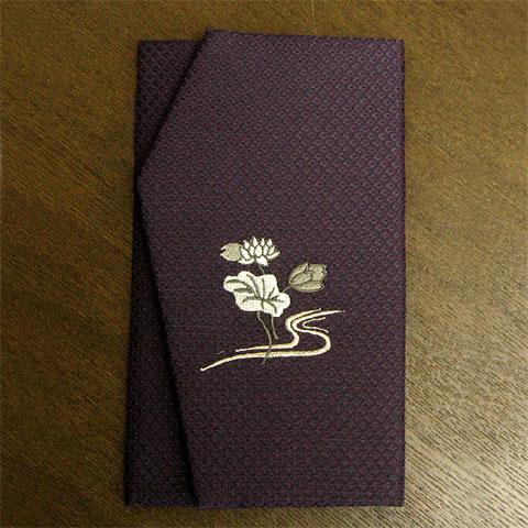 かのこ織刺繍金封ふくさ ハス